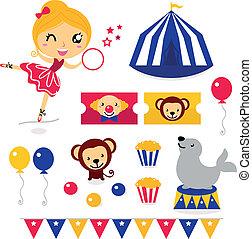 ensemble, icônes, cirque, isolé, éléments, amusement, blanc
