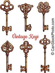ensemble, icônes, clés, vendange, isolé, vecteur
