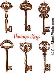 ensemble, icônes, clés, vendange, isolé, vecteur, laiton
