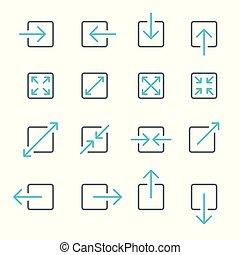ensemble, icônes, collection., écran, gestes, flèche, toucher, ligne