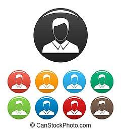 ensemble, icônes, collection, avatar, cercle, homme