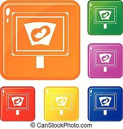 ensemble, icônes, couleur, échographies, vecteur, mère, bébé, utérus