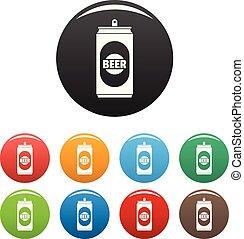 ensemble, icônes, couleur, bière, vecteur, boîte