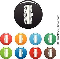 ensemble, icônes, couleur, caoutchouc, vecteur, pneu