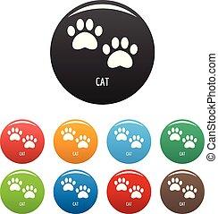 ensemble, icônes, couleur, chat, étape, vecteur