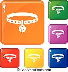 ensemble, icônes, couleur, chat, vecteur, collier