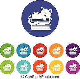 ensemble, icônes, couleur, chat, vecteur, dormir