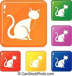 ensemble, icônes, couleur, chat, vecteur, noir