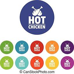 ensemble, icônes, couleur, chaud, vecteur, poulet