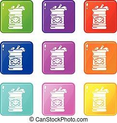 ensemble, icônes, couleur, collection, 9, baril