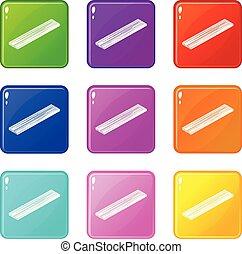 ensemble, icônes, couleur, collection, 9, planche, bois construction