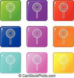 ensemble, icônes, couleur, collection, 9, sucette