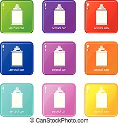 ensemble, icônes, couleur, collection, boîte aérosol, 9