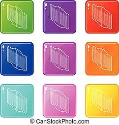 ensemble, icônes, couleur, collection, occidental, portes, 9, bar
