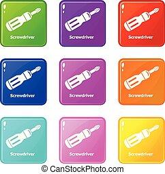 ensemble, icônes, couleur, collection, screwdrive, 9