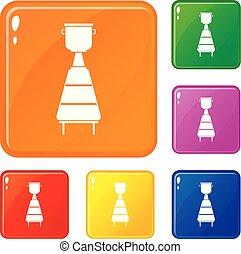ensemble, icônes, couleur, distillerie, équipement, vecteur, vin