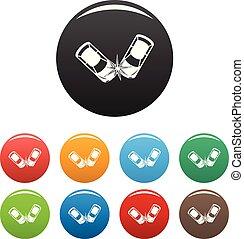 ensemble, icônes, couleur, dur, collision, vecteur