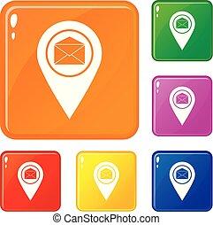 ensemble, icônes, couleur, enveloppe, signe, vecteur, emplacement, marqueur