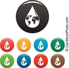 ensemble, icônes, couleur, goutte, eau, la terre