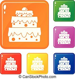 ensemble, icônes, couleur, grand, vecteur, gâteau