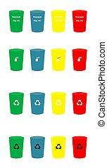 ensemble, icônes, couleur, illustration, vecteur, divers, recycler, déchets ménagers, casiers