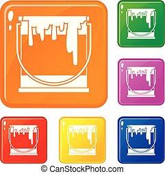 ensemble, icônes, couleur, peinture, vecteur, boîte