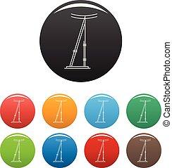 ensemble, icônes, couleur, poteau, vecteur, télégraphe