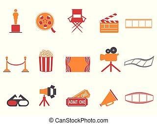 ensemble, icônes, couleur, série, films, orange, rouges