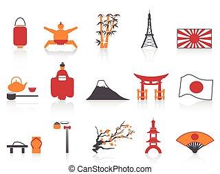 ensemble, icônes, couleur, série, japonaise, orange, rouges