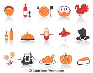 ensemble, icônes, couleur, série, thanksgiving, orange, rouges
