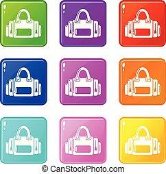 ensemble, icônes, couleur, sac collection, fitness, 9
