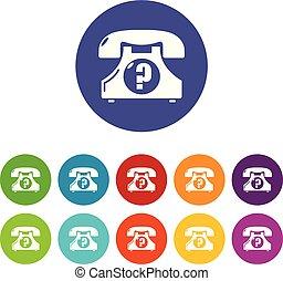 ensemble, icônes, couleur, téléphone, vecteur, retro