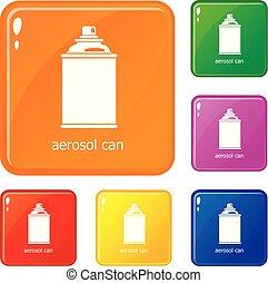 ensemble, icônes, couleur, vecteur, boîte aérosol