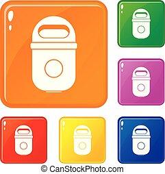ensemble, icônes, couleur, vecteur, boîte, déchets ménagers