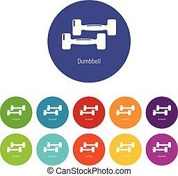 ensemble, icônes, couleur, vecteur, fitness, haltère