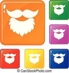 ensemble, icônes, couleur, vecteur, moustache, barbe