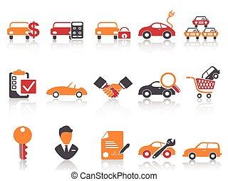 ensemble, icônes, couleur, voiture, série, orange, revendeur, rouges