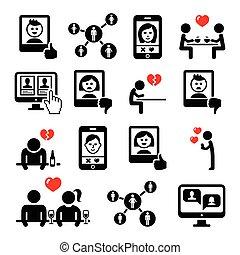 ensemble, icônes, couples, apps, vecteur, ligne, date, dater