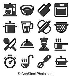 ensemble, icônes, cuisine, arrière-plan., vecteur, blanc