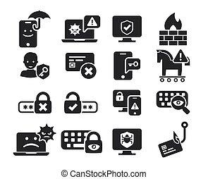 ensemble, icônes, cyber, bw, menace, sécurité