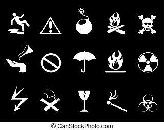 ensemble, icônes, -, danger, symboles, avertissement, blanc
