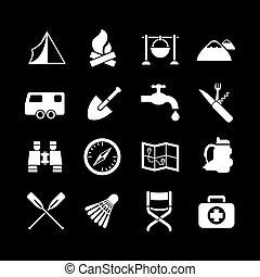 ensemble, icônes, de, camping