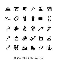ensemble, icônes, de, camping, et, alpinisme