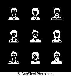 ensemble, icônes, de, gens