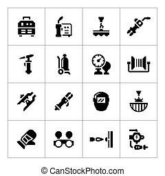ensemble, icônes, de, soudure