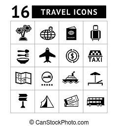 ensemble, icônes, de, voyage, tourisme