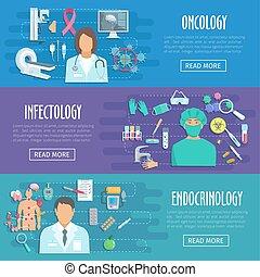 ensemble, icônes, docteur médical, healthcare, bannière