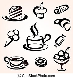 ensemble, icônes, doux, boulangerie, autre, patisserie, caffe