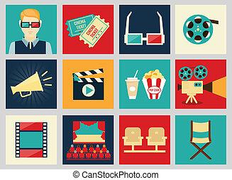 ensemble, icônes, film, cinéma, éléments, conception