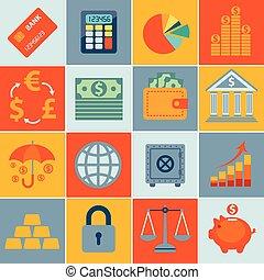 ensemble, icônes, finance, infographics